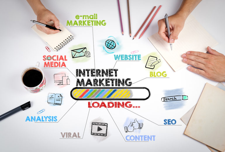 internet marketing, technology and advertising concept