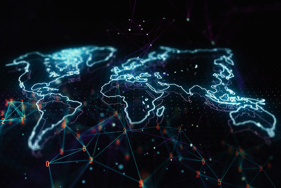 Holographic world map illustration on abstract big data background. Future Technology Concept. 3D Rendering