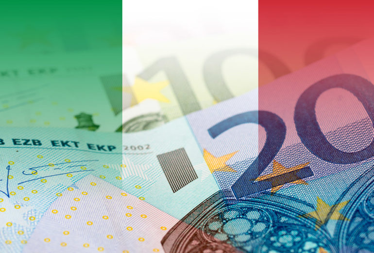 italy flag with euro banknotes
