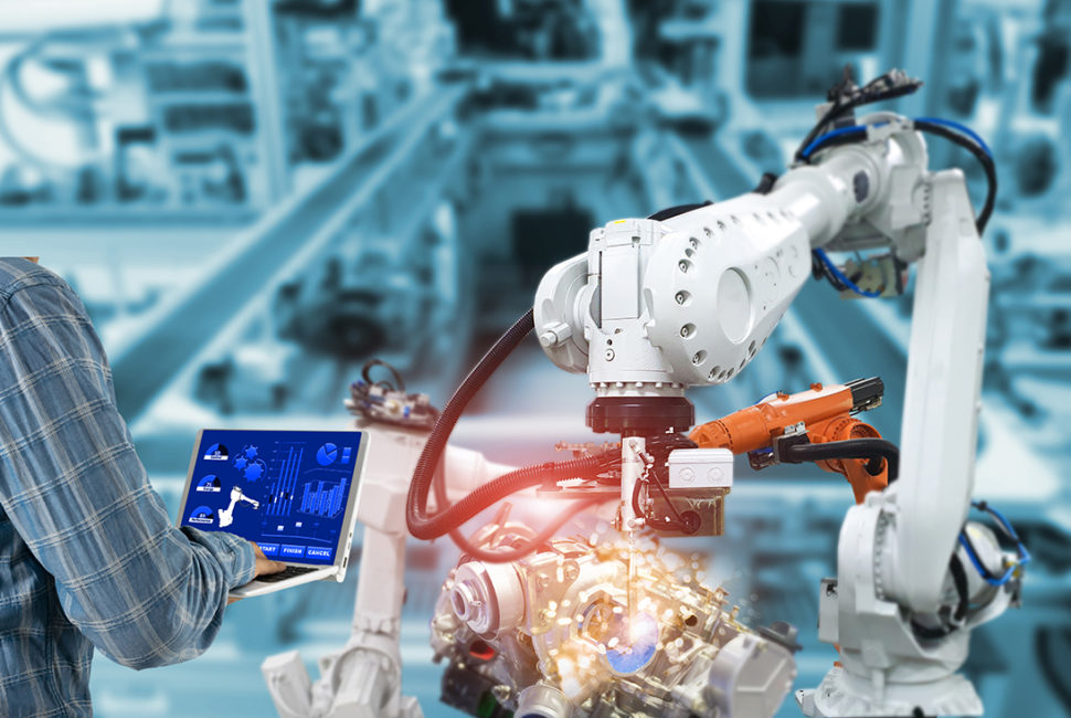 Manager engineer check control automation Robotic arms, industrial robots, factory automation machines