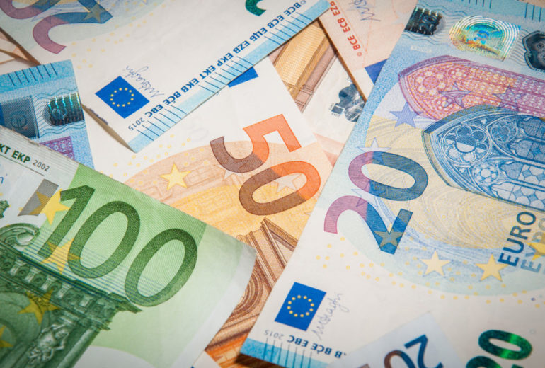 close-up group of euro money banknote: 20 euro 50 euro 100 euro